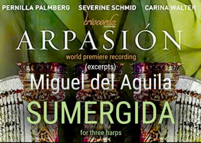 Arpassion Three harps TrioCorda CD Drei Harfen Trois Harpes Sumergida Miguel del Aguila composer Submerged tres arpas Switzerland harp column Zurich american music