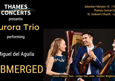 Aurora Trio flute viola harp trio Submerged Thames Concerts London UK England