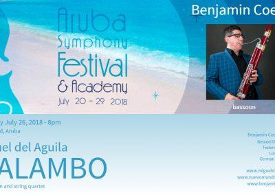 Bassoon quintet bassoon and string quartet MALAMBO chamber music Miguel del Aguila Benjamin Coelho Aruba Symphony Festival Oranjenstad fagot