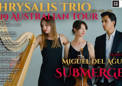 CHRYSALIS Flute Viola Harp trio Australia Tour Miguel del Aguila SUBMERGED american music composer classical contemporary latin Grammy Yass Canberra International Music Festival Mel