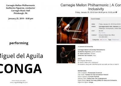 Carnegie Mellon University Philharmonic Orchestra Guillermo Figueroa conductor Carnegie Music Hall Miguel del Aguila CONGA american music composer classical contemporary compositor lat