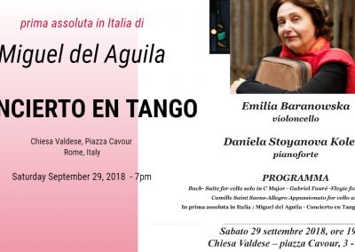 Concierto en Tango cello and orchestra Miguel del Aguila Emilia Baranowska Rome, Italy Chiesa Valdese Roma cello piano american music composer classical contemporary latin hisp
