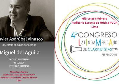 Congreso Latinoamericano de Clarinetistas Clariperu clarinet Javier Asdrubal Vinasco clarinete Miguel del Aguila PACIFIC SERENADE MILONGA ESTUDIO RITMICO