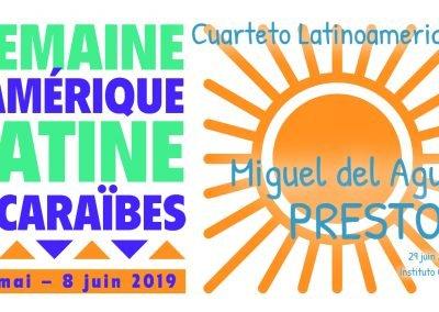 Cuarteto Latinoamericano Presto II String quartet Cuarteto de cuerdas Miguel del Aguila Amerique Latine Paris France instituto cervantes american music composer classical cont