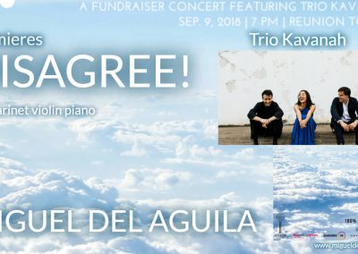 Disagree Trio Kavanah Miguel del Aguila clarinet violin piano trio american music composer classical contemporary latin hispanic reunion tower, Dallas, modern South American Ar
