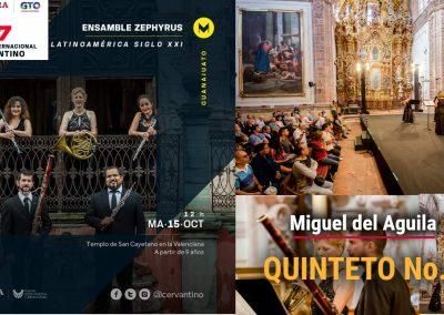 Festival Internacional Cervantino Festival Cervantino Ensamble Zephyrus Miguel del Aguila Quinteto dee alientos vientos Guanajuato Mexico Wind Quintet Templo de la Valenciana