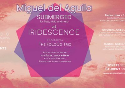 Flute viola harp trio Miguel del Aguila Submerged composing music composer classical contemporary American latin hispanic modern South American foloco colorado arpa debussy sonata