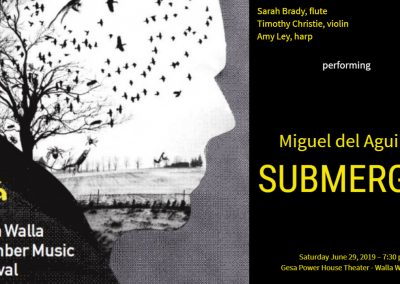 Flute violin harp trio Miguel del Aguila SUBMERGED Walla Walla Chamber Music Festival Seattle american composers classical contemporary