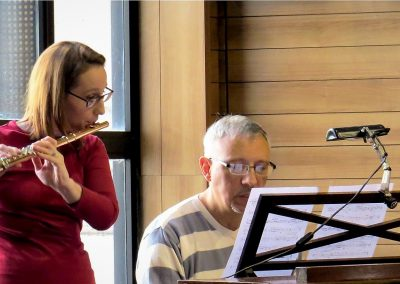 Miguel del Aguila composer SODRE orchestra rehearsal Olga Bertinat flute Miami Flute Suite Montevideo