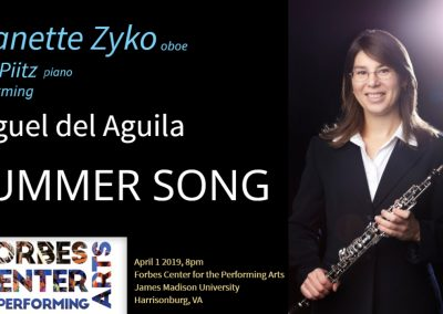 Oboe piano hautbois klavier IDRS Summer Song Miguel del Aguila Forbes Center for the Performing Arts James Madison University american music composer