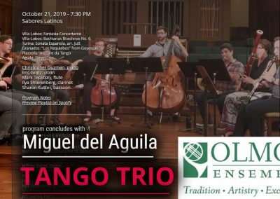 Olmos Ensemble chamber music Miguel del Aguila TANGO TRIO violin clarinet piano San Antonio TX American music composer classical contemporary compositor latinoamericano
