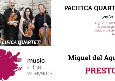 Pacifica Quartet Music in the Vineyards Music Festival San Francisco Bay Area Presto II String quartet Cuarteto de cuerdas Miguel del Aguila Napa CA