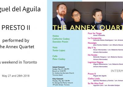 Presto II The Annex Quartet Miguel del Aguila composing music composer classical contemporary American latin hispanic modern South American