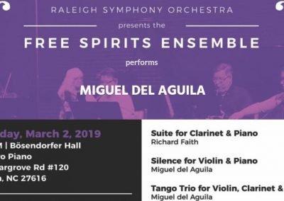 Raleigh Symphony Orchestra Miguel del Aguila Free Spirits Ensemble Bosendorfer Hall Raleigh Silence Tango Trio violin clarinet piano american music composer classical contemporary