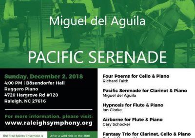 Raleigh Symphony orchestra Free Spirits Ensemble Miguel del Aguila american music composer Pacific Serenade clarinet and piano Bosendorfer Hall