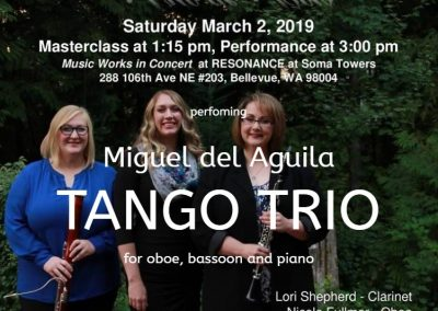 Seattle Soma Towers Live Music Project Seattle Tango Trio Miguel del Aguila oboe bassoon piano Trio de Bois King FM 98.1 Seattle Symphony orchestra North West Bellevue WA american mu