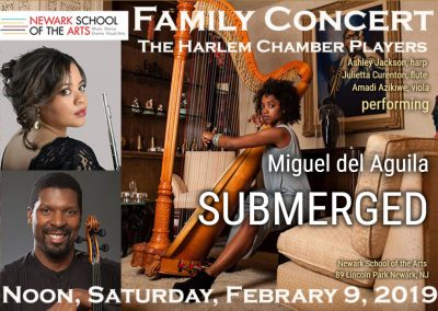 The Harlem Chamber Players SUBMERGED flute viola harp trio Miguel del Aguila newark school of the arts New York New York city Sphinx Organization american music composer classical cont