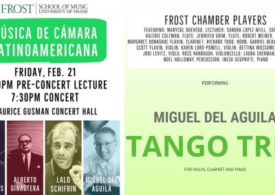 TANGO TRIO violin clarinet piano Frost Chamber Players