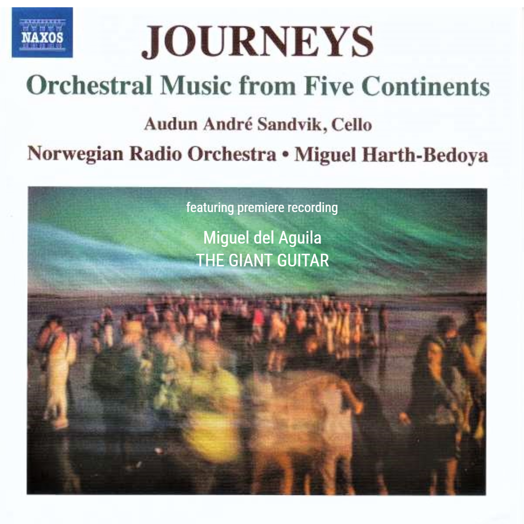 Norwegian Radio Orchestra Miguel Harth-Bedoya conductor Miguel del Aguila Naxos CD The Giant Guitar composer Journeys Orchestral Music from Five Continents Norway Oslo Kringkastingsorkestret KORK NRK Europe 2021 release american music classical contemporary komponist  amerikansk moderne klassisk musikk  latinoamericano latin